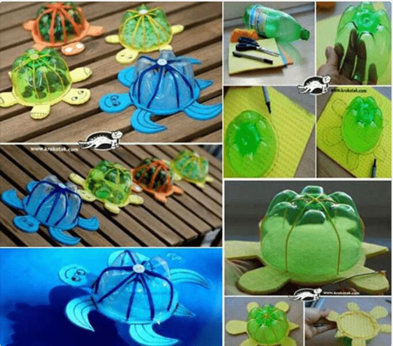 botella para hacer tortugas recicladas