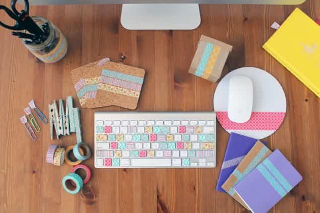 Haz tu teclado colorido con washi tape y otras manualidades - Decorar con washi tape ...