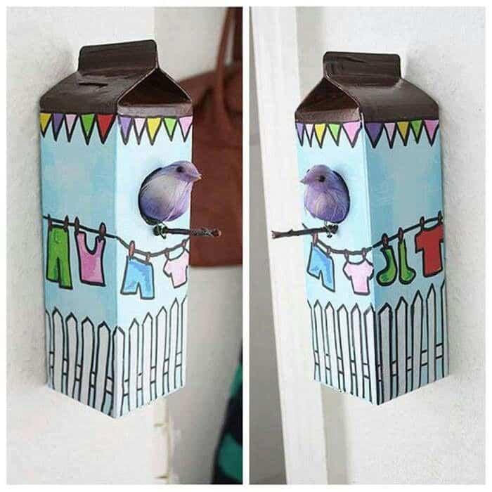 Casa para p jaros con un cart n de leche reciclado - Casa para pajaros ...