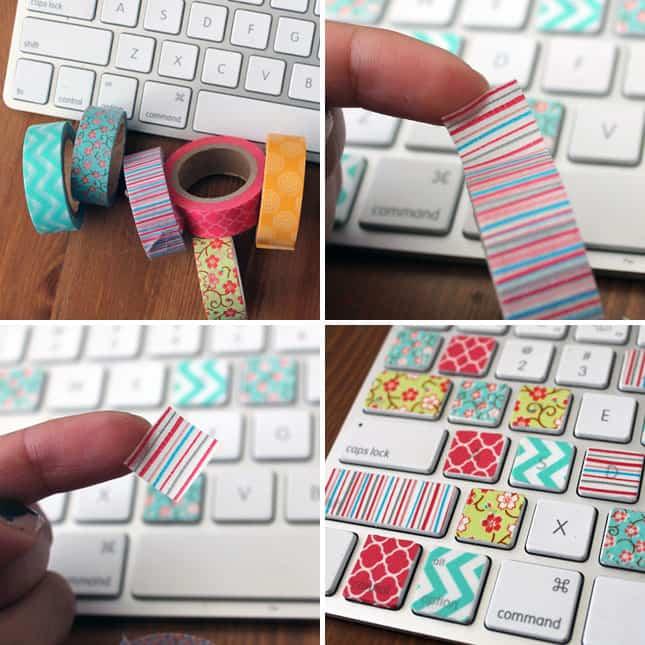 que necesitamos para personalizar el teclado con washitape