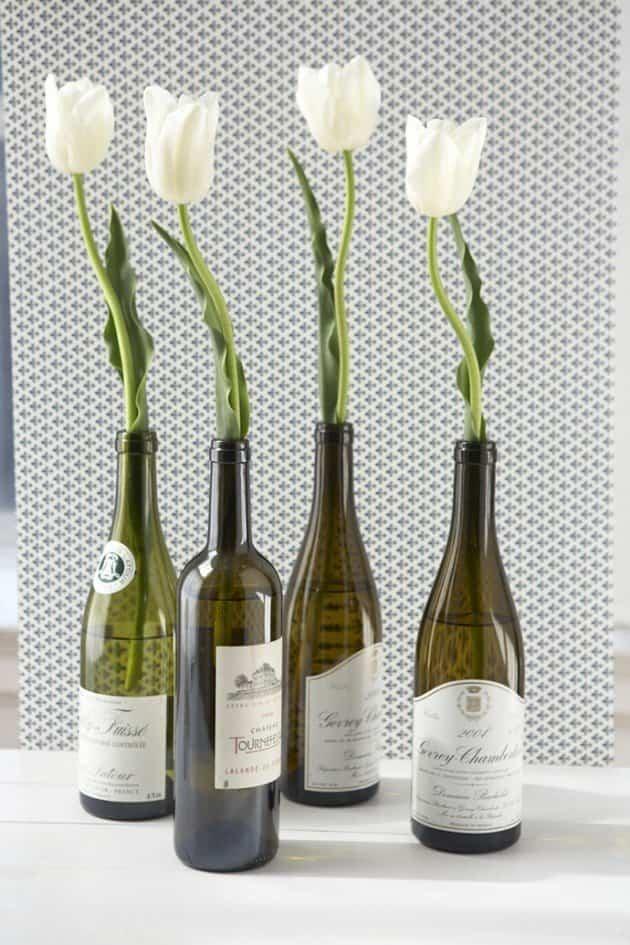 jarrones con botellas de vino Ayuda para Manualidades
