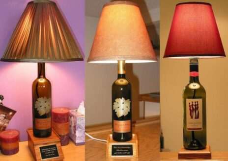 lampara de mesa con botellas vino recicladas 1