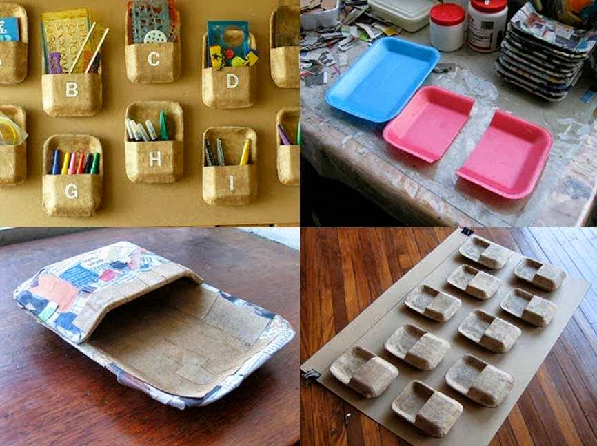 organizador de bandejas reciclado