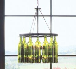 original lampara reciclando botellas de vino