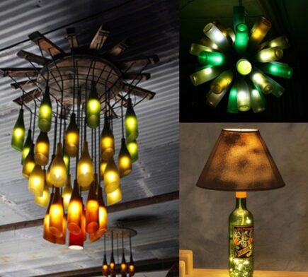 originales lamparas con botellas de vino recicladas