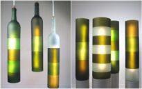 originales lamparas con botellas vino cortadas