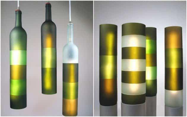 Originales lamparas con botellas vino cortadas ayuda - Lamparas con botes de cristal ...