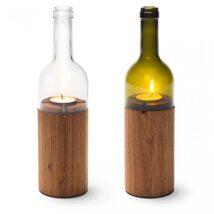 portavelas con madera y botella vino cortada