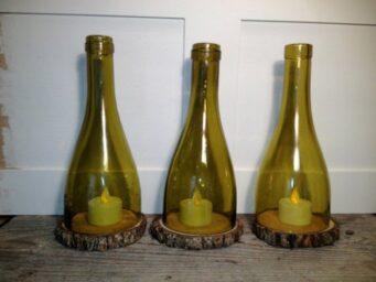 portavelas en botellas vino cortadas