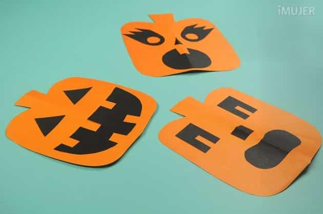 Calabazas de cartulina para decorar en halloween - Plantillas para decorar calabazas halloween ...
