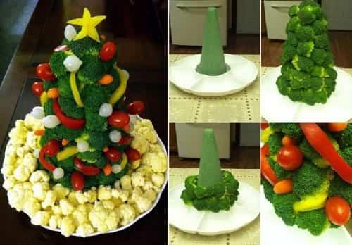 árbol navideño con vegetales