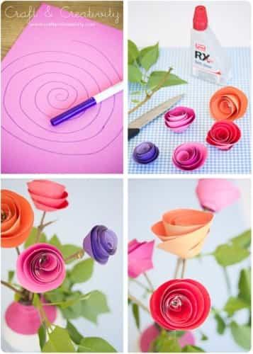 flores de papel de colores