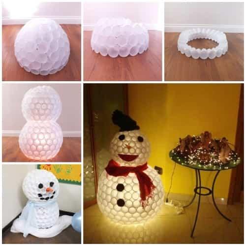 vasos desechables para hacer hombre de nieve