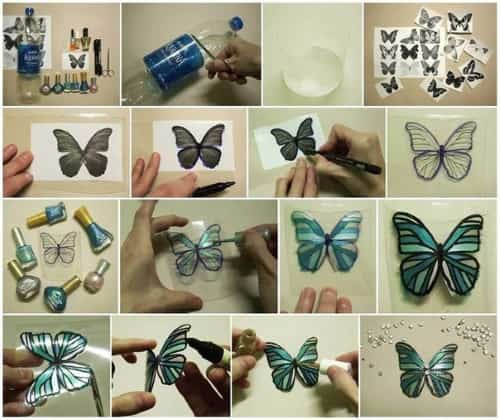 mariposas con botellas recicladas