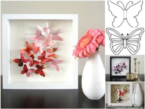 Cuadro de mariposas de papel paso a paso - Como hacer mariposas de papel para decorar paredes ...