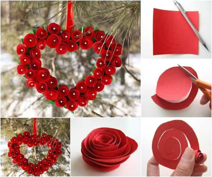 corazon rosas de papel 1