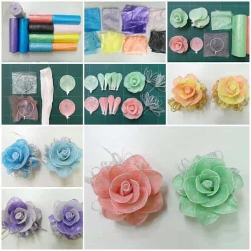 rosas de plástico y alambre