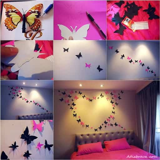 Mariposas de papel para decorar paredes de dormitorio for Decoration murale fly