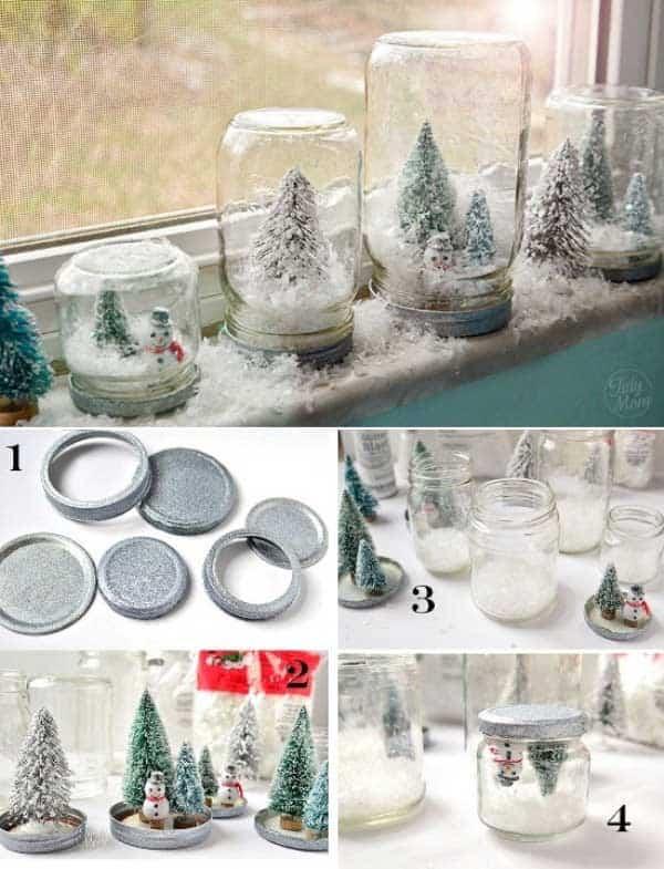 tarros reciclados para decorar en navidad
