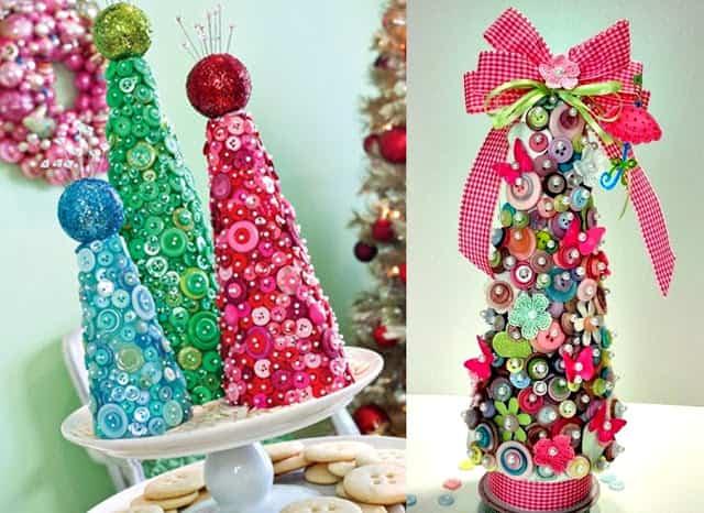 arboles de navidad hechos con botones