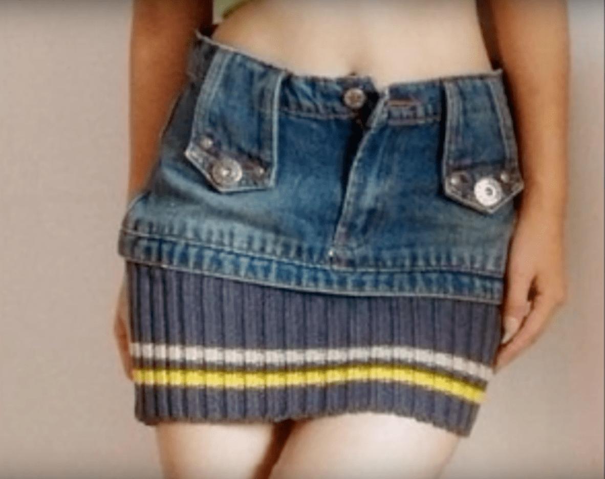 jeans convertidos en un recipiente para guardar cosas