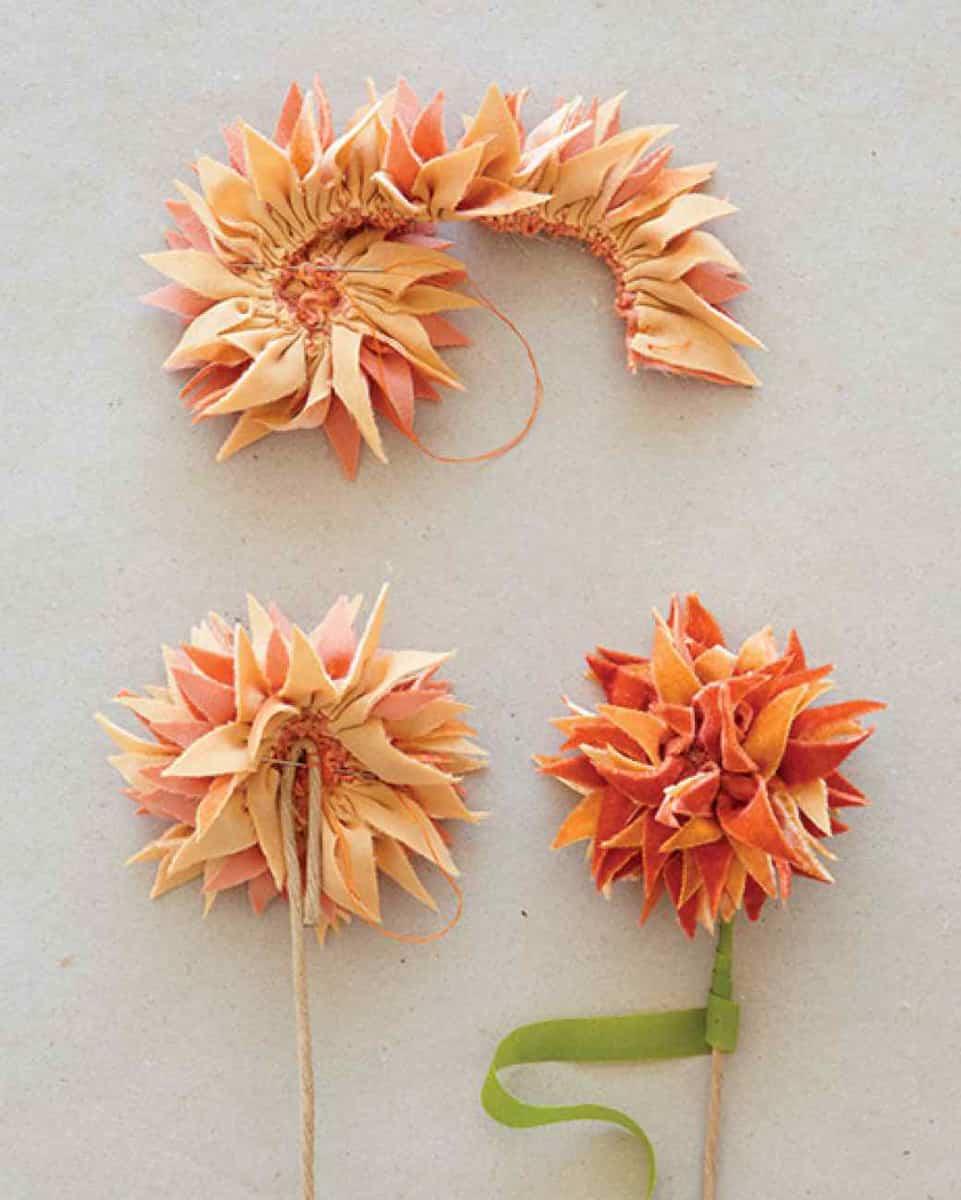 flores de tela paso a paso